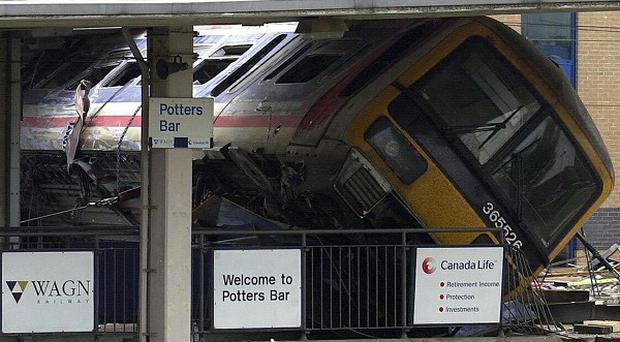 The scene at Potters Bar Station, London, in May 2003