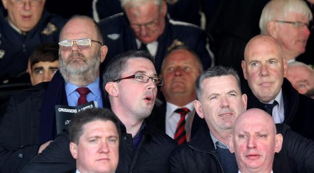 Lord Mayor of Belfast Niall O Donnghaile at Windsor Park to watch Linfield and Crusaders in the JJB Sports Irish Cup Final at Windsor Park.