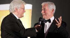 Jimmy McIlroy (right) is interviewed by Jackie Fullerton as he was inducted into the NI Hall of Fame by the NI Football Writers' Association back in 2012.