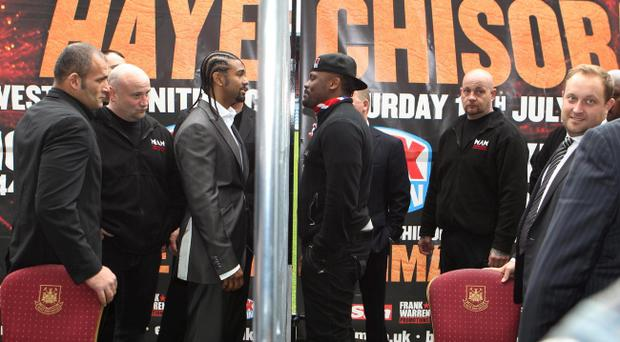 David Haye (left) and Dereck Chisora (right) during the Press Conference at Upton Park, London