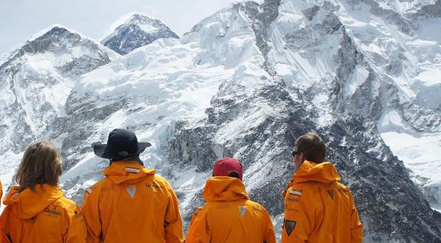 The Walking With The Wounded expedition team look at Everest