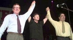 Peacemakers: David Trimble, John Hume and Bono at a concert to promote the Good Friday Agreement