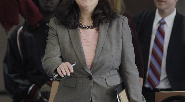 Amy Thompson, defence lawyer for William Balfour arrives at Cook County Criminal Court in Chicago (AP/M Spencer Green)