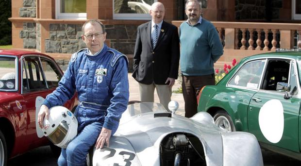 Getting in Gear for the Cultra event are (from left) former Formula Ford champion Arnie Black, William Heaney TSCC President and Event Co-ordinator and Mark Kennedy, Road Transport Curator at Ulster Folk & Transport Museum