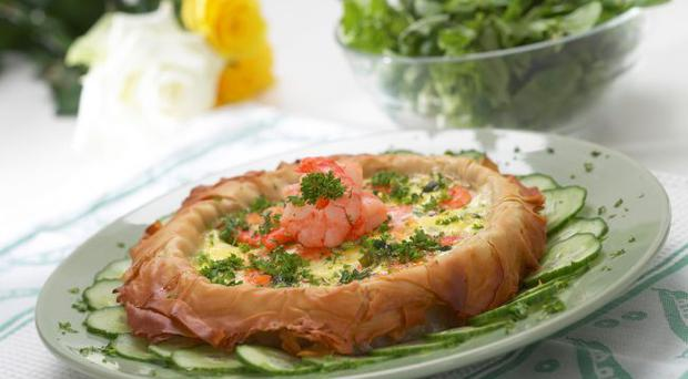 Prawn and salmon open tart in a filo crust