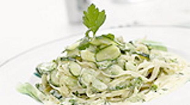 Lemon cream tagliatelle with courgettes, broad beans & herbs