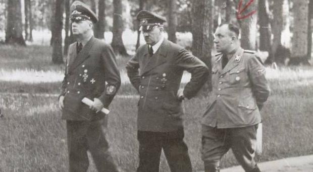 Joachim von Ribbentrop, Adolf Hitler and Martin Bormann.
