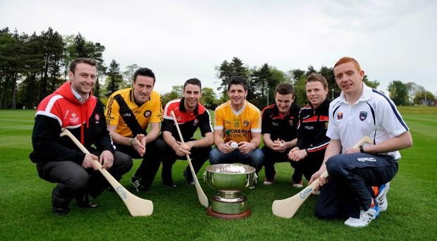 Looking forward to the Ulster Camogie and GAA Hurling All-Ireland Senior Championship are Patrick McCloskey Derry, Ruairi Convery Derry, Liam Hinphey Derry, Shane McNaughton Antrim, Conor Mageean Down, Michael Turley Down and Ryan Gaffney Armagh