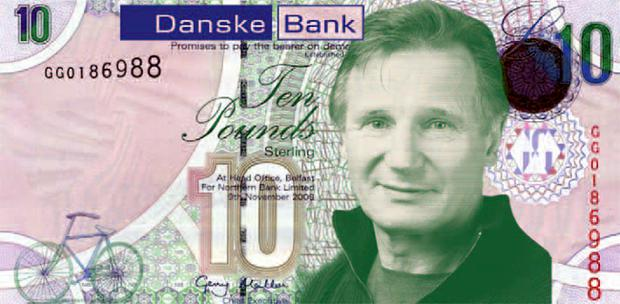 How a new Danske banknote would look like if Liam Neeson replaced JB Dunlop