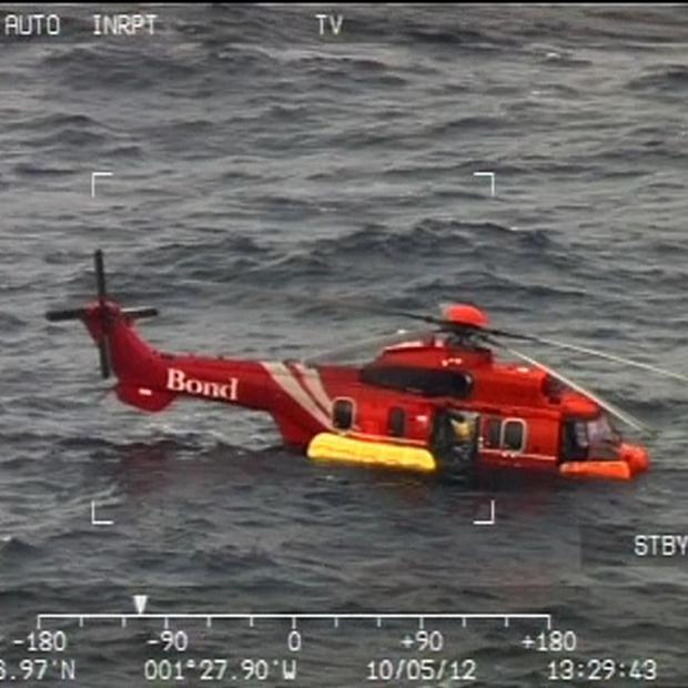 An RAF image of the helicopter that ditched in the North Sea off the coast of Aberdeen (RAF/PA)