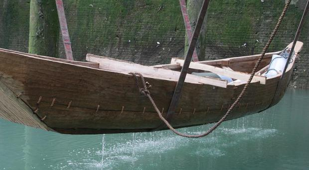 The Boat 1550 BC, as it was put into the water at Dover (Canterbury Christ Church University/PA)
