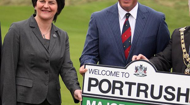 Darren Clarke and Tourism Minister Arlene Foster promote the Irish Open at Royal Portrush