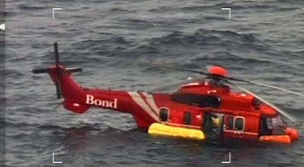 Initial examination of the EC225 Super Puma which ditched off the coast of Aberdeen suggest it had gearbox problems (RAF/PA)