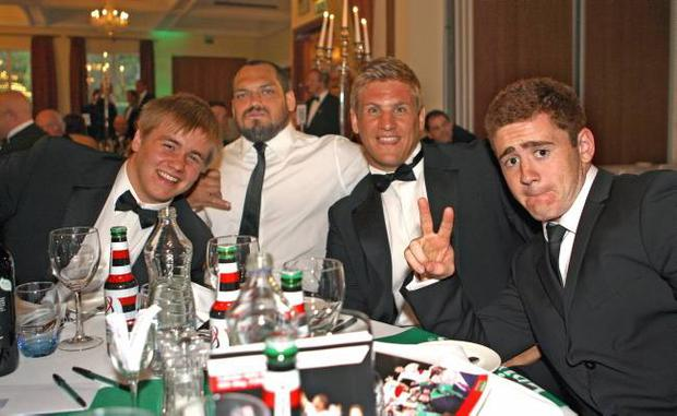 Kyle McCall, John Afoa, Chris Henry and Paddy Jackson at the Heineken Ulster Rugby Awards Dinner.