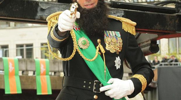 Sacha Baron Cohen arrived in character for The Dictator premiere in London