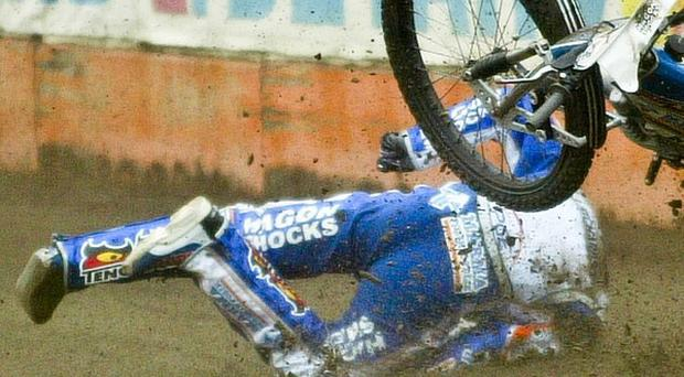 Lee Richardson crashes while racing for PGE Marma Rzeszow in Wroclaw, Poland (AP/Piotr Walczak)