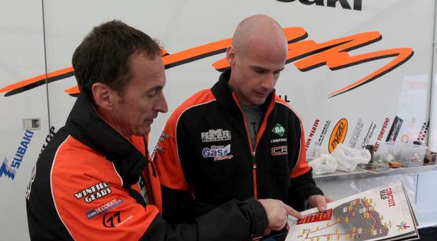 Way to go: Jeremy McWilliams (left) gets on track for his North West debut with team boss and fellow competitor Ryan Farquhar