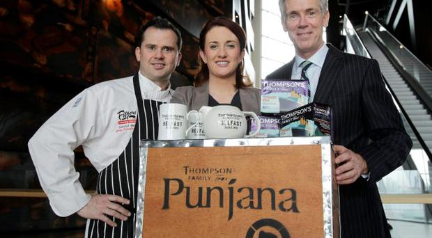 (l-r) are Lenny Fearon, Executive Head Chef at Fitzers Catering, Claire Bradshaw, Head of Sales and Marketing at Titanic Belfast and Ross Thompson, Joint Managing Director of Thompson's Family Teas