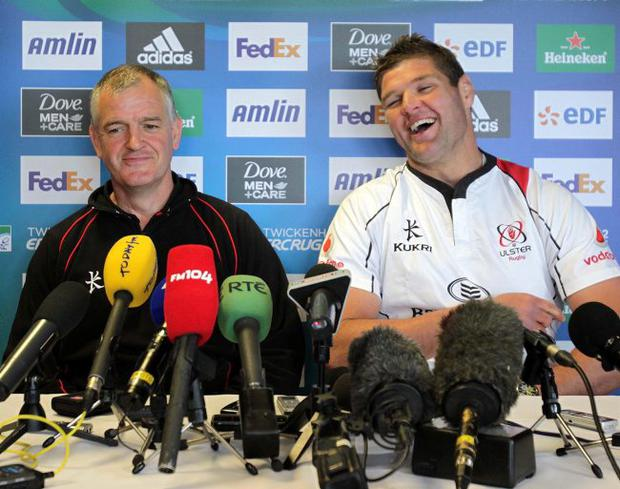 Having a laugh: Ulster coach Brian McLaughlin and skipper Johann Muller in relaxed mood on Tuesday in a press conference ahead of Saturday's Heineken Cup final at Twickenham