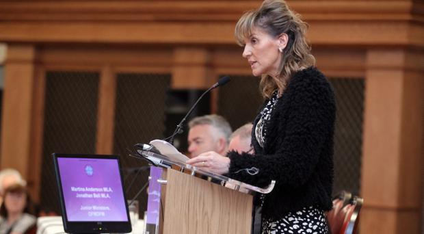 Junior Minister Martina Anderson on stage at the CRC Policy Conference in Titanic Belfast, one of the first events of Community Relations Week