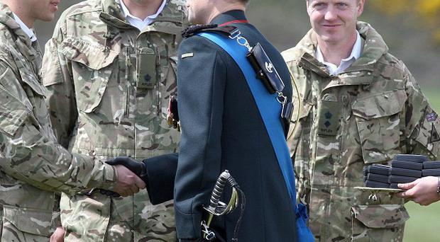 The Earl of Wessex presents medals to the Second Battalion the Rifles at a ceremony at their HQ in Ballykinler, Co Down