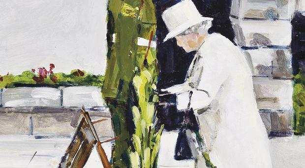 A painting by contemporary Irish artist Michael Hanrahan of Queen Elizabeth II as she laid a wreath