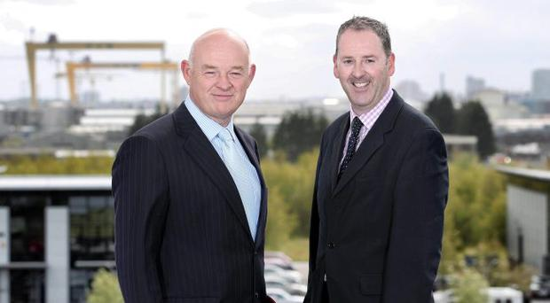 Phoenix Energy Holdings CEO Peter Dixon (left) in Belfast with Kevin Greenhorn, SSE's Director of Business Supply, Contracting and International and CEO of Airtricity