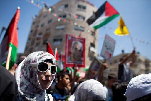 Protest: a demonstration against Israeli settlements in Palestinian territory