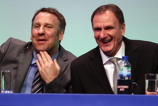 Unbelievable: Paul Merson and Phil Thompson, joint winners of Britain's Most Excitable Men Contest 2012