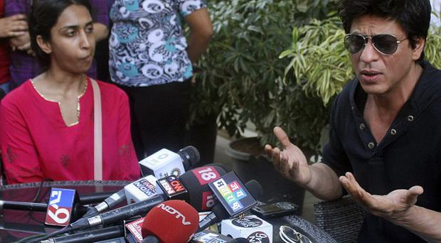 Kolkata Knight Riders cricket team co-owner and Bollywood actor Shah Rukh Khan speaks to the media after the incident (AP)