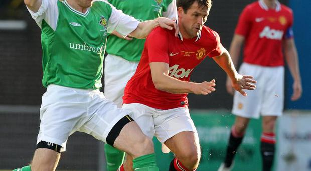 Farewell: Michael Owen made his final Manchester United appearance at Windsor Park on Tuesday