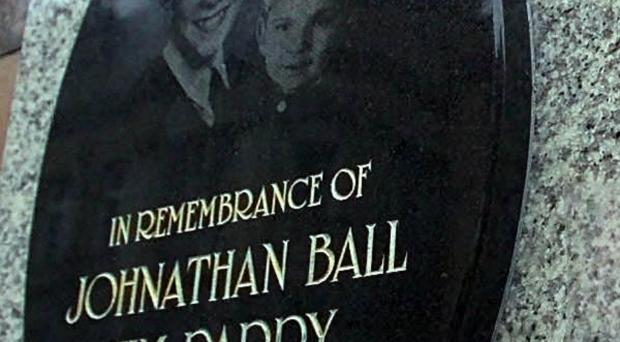 A tribute to Jonathan Ball and Tim Parry on Bridge Street in Warrington, has been stolen