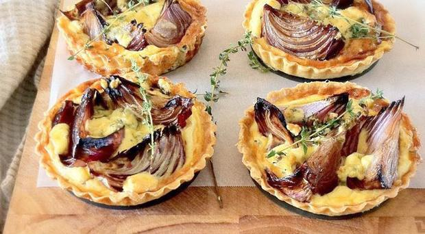 Cashel blue cheese and sticky red onion tart