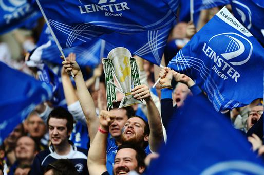 LONDON, ENGLAND - MAY 19: Leinster fans support their team during the Heineken Cup Final between Leinster and Ulster at Twickenham Stadium on May 19, 2012 in London, United Kingdom. (Photo by Jamie McDonald/Getty Images)