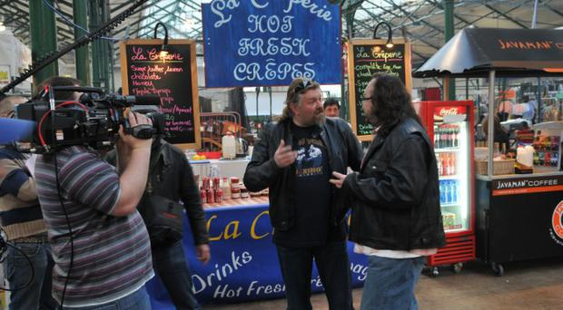 Dave Myers and Si King - better known as the Hairy Bikers - at St George's Market to film an episode of their new BBC2 series