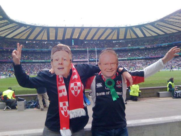 Peter Sloan from Belfast and Gareth Leckey from Dungannon made masks of Peter Robinson and Martin McGuinness to wear at the Heineken Cup Final between Leinster and Ulster at Twickenham Stadium on May 19 2012