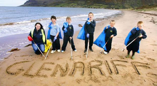 Glenariff Clean Up. Patricia with children - Oisin and Daire Mort; John Fyffe, Seanie McIntosh and Finton McAuley