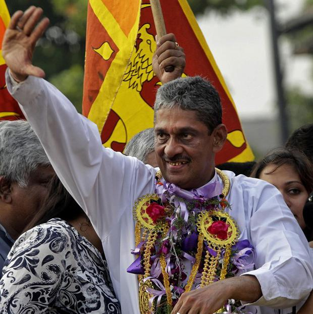 Sri Lanka's former army chief Sarath Fonseka after being released from jail in Colombo, Sri Lanka (AP/Eranga Jayawardena)