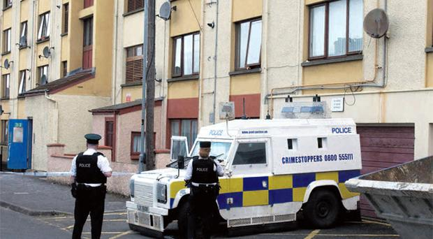 Cordoned off: police at the scene of the bomb find at Maureen Avenue in Londonderry