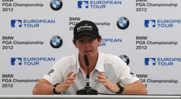 VIRGINIA WATER, ENGLAND - MAY 23: Rory McIlroy of Northern Ireland answers questions at a press conference during the Pro-Am round prior to the BMW PGA Championship on the West Course at the Wentworth Club on May 23, 2012 in Virginia Water, England. (Photo by David Cannon/Getty Images)