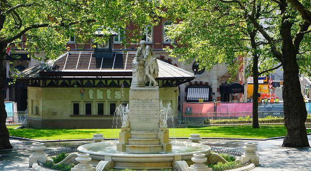 The revamped Leicester Square in central London is due to be reopened