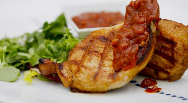 Lemon and Worcester Sauce Marinated Pork Chops, with BBQ Sauce.