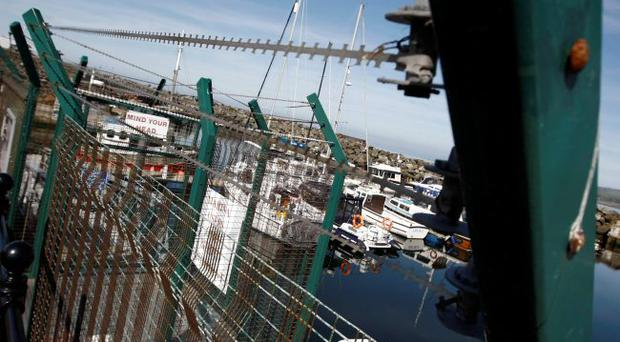 .Barred wire at Ballycastle Harbour and Marina