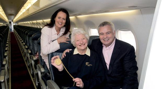 Flybe's Andrea Hayes and Eamonn Holmes celebrate Mary Peters' golden moment