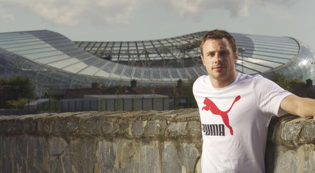Tommy Bowe, seen here outside Dublin's Aviva Stadium this week, has admitted he was frightened by his kidney scares