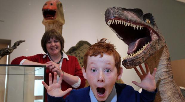 Dr Geraldine Macartney, Learning Officer at National Museums Northern Ireland, gives Odhran Reid, a P5 pupil from St Francis Primary School, Lurgan, a sneak preview of the Age of the Dinosaur exhibition