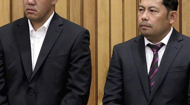 Navigation Officer Leonil Relon, left, and Captain Mauro Balomaga, have been jailed over the shipwreck of the container vessel Rena(AP)
