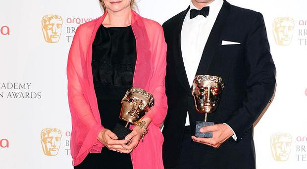 Winners of leading actress and actor Baftas, Emily Watson and Dominic West
