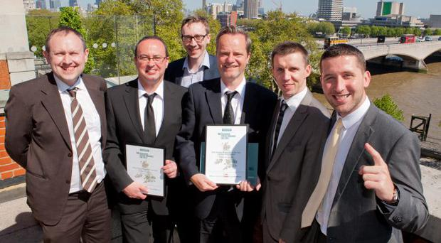 Celebrating success: Belfast Telegraph and Sunday Life winners at the Society of Editors' Awards on Friday. From left: Steven Beacom, Belfast Telegraph Sports Editor; John McGurk, Sunday Life; Edward McCann, Belfast Telegraph Deputy Editor; Mike Gilson, Belfast Telegraph Editor; Martin Breen, Sunday Life Editor and Ciaran Barnes, Sunday Life reporter.