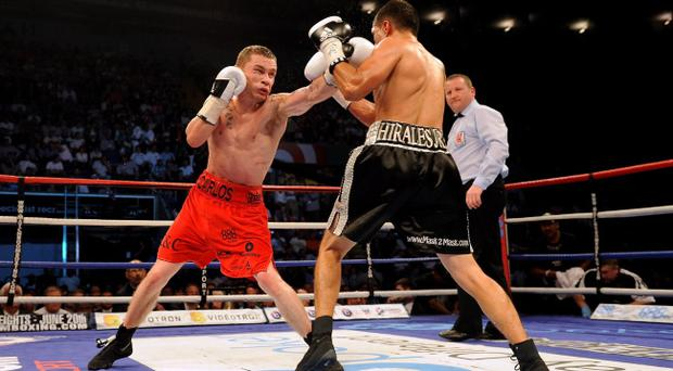 Carl Frampton lands a left hand on Rual Hirales on his way to the IBF Inter-Continental title